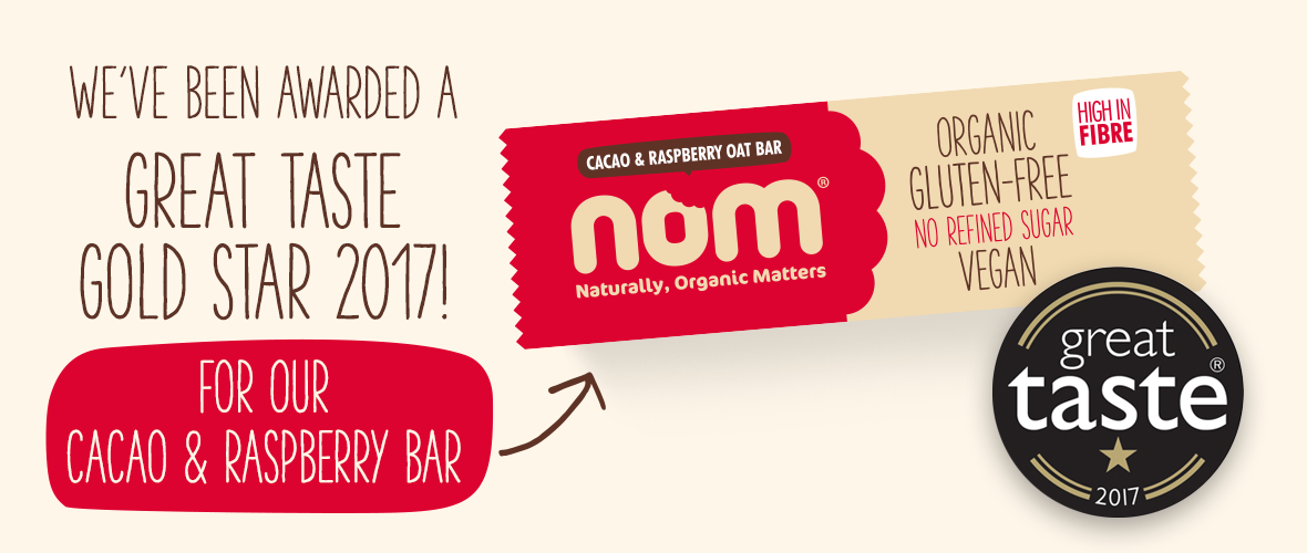 Nom Cacao and Raspberry Bar-Great Taste Award 2017
